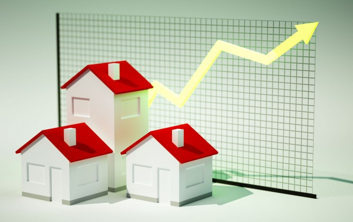 31121122 - 3d render image of houses with graph growing