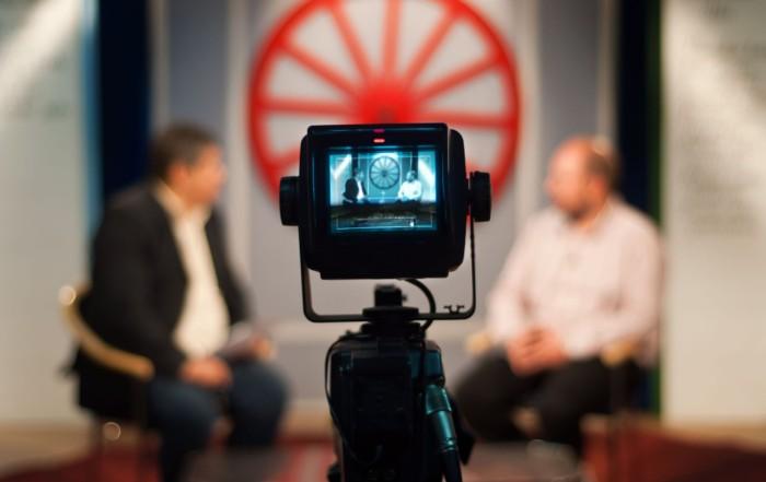 7979011 - video camera viewfinder - recording show in tv studio - focus on camera