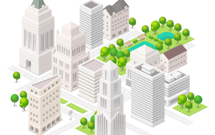 44625717 - big city. set of the isometric vector elements. skyscrapers, park with ponds, ity buildings and shops.
